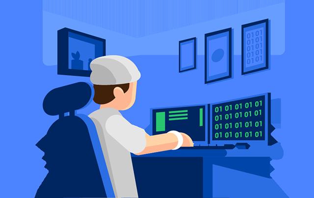 Ilustração de um programador exercendo a sua carreira